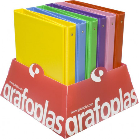 Carpeta De Anillas Grafoplas Pvc Escolar Colors Fº 4 An.25mm Expositor De 12 (6 Colores)