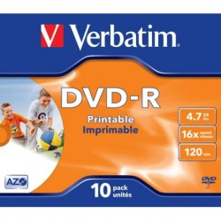 Dvd -R Verbatim 4.7gb 16x Jewel Case 10 Advanced Azo Imprimible Inkjet (Incluye Canon Lpi De 2.10 €)