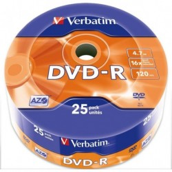 Dvd -R Verbatim 4.7gb 16x Spindle 25 Advanced Azo (Incluye Canon Lpi De 5.25 €)