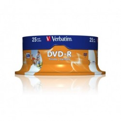Dvd -R Verbatim 4.7gb 16x Spindle 25 Imprimible Inkjet Superficie Blanca Advanced Azo (Incluye Canon Lpi De 5.25 €)
