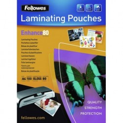 Funda Plastificar Fellowes Brillo 216x303 (A4) 80µ Paquete De 100