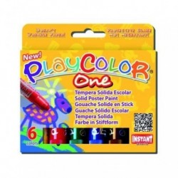 Tempera Instant Solida Playcolor One 10gr. Estuche De 6 Colores