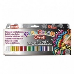 Tempera Instant Solida Playcolor Metallic One 10gr. Estuche De 12 Colores