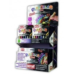 Tempera Instant Solida Playcolor Metallic One 10gr. Expositor De 144 (12 Estuches De 6 Colores Y 6 Estuches De 12 Col...