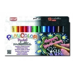 Tempera Instant Solida Playcolor Metallic Pocket 5gr. Estuche De 12 Colores