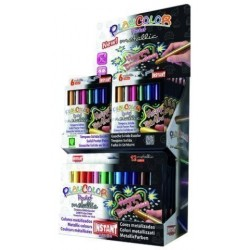 Tempera Instant Solida Playcolor Metallic Pocket 5gr. Expositor De 144 (12 Estuches De 6 Colores Y 6 Estuches De 12 C...