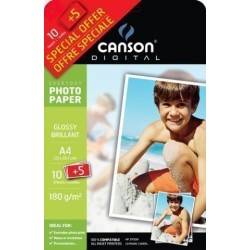 Papel Inkjet Canson Foto A4 180g 10+5h Glossy