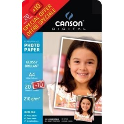 Papel Inkjet Canson Foto A4 210g 20+10h Glossy