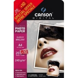 Papel Inkjet Canson Foto A4 240g 20+10h Rc Glossy