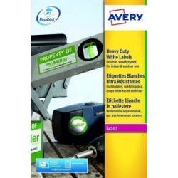 Etiquetas Adh.Impr.Avery A4 Polyester Blanco C.Rectos Laser Caja 20h 210x297 Mm 20 Uds.(L4775)