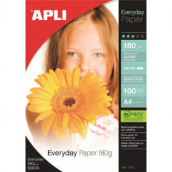 Papel Inkjet Apli Foto A4 180g 100h Glossy (Everyday)