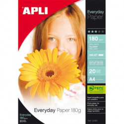 Papel Inkjet Apli Foto A4 180g 20h Everyday Glossy