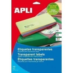 Etiquetas Adh.Impr.Apli A4 Polyester Transp.Brillo Inkjet Blister 10h 99,1x38,1 Mm C.Romos 140 Uds.(10052)